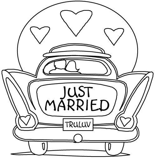 """just married  in car from behind """"tru luv""""  malvorlagen"""