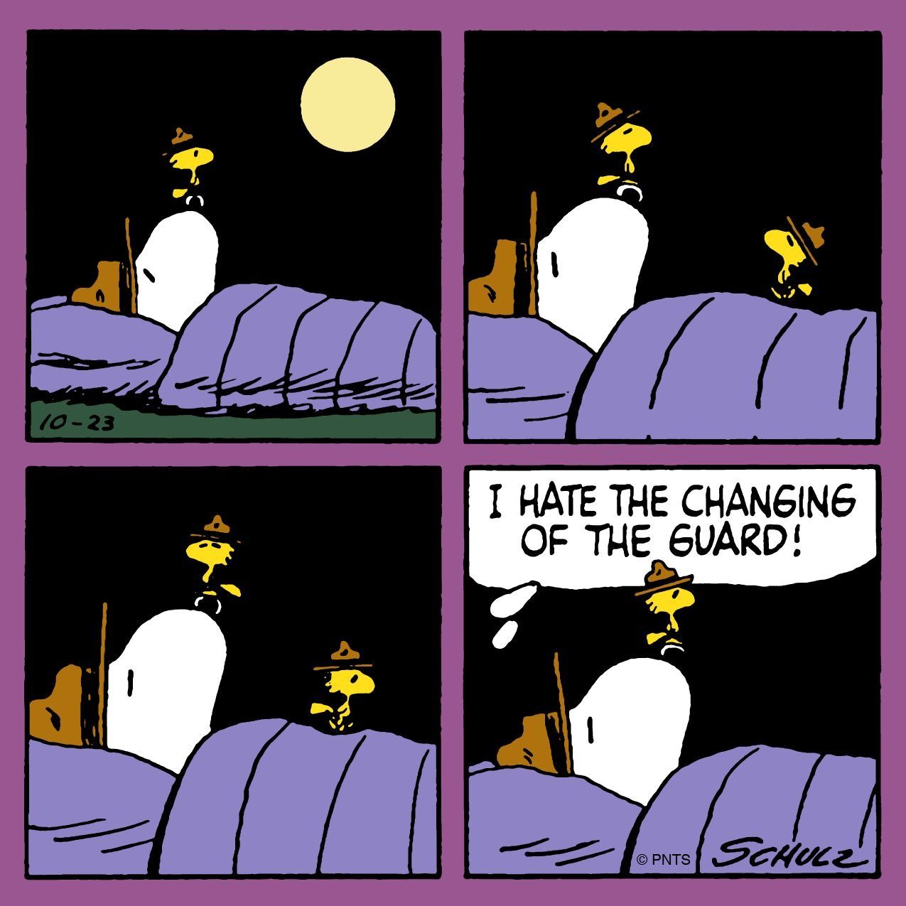 Sleepovers with Snoopy and Woodstock.