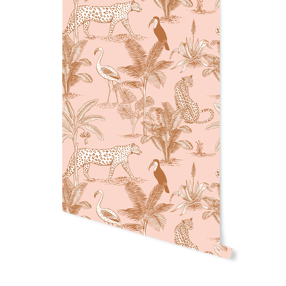 With the Jungle Blush wallpaper you give a tropical touch to your space For example nice for a wall in your living room corridor or childrens room The rustbrown jungle pr...