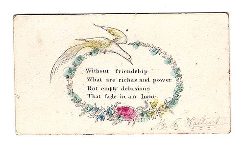 Acquaintance Card - An attempt at charm, but comes off a bit emo.  I would have shied away from the gent, back in that day.