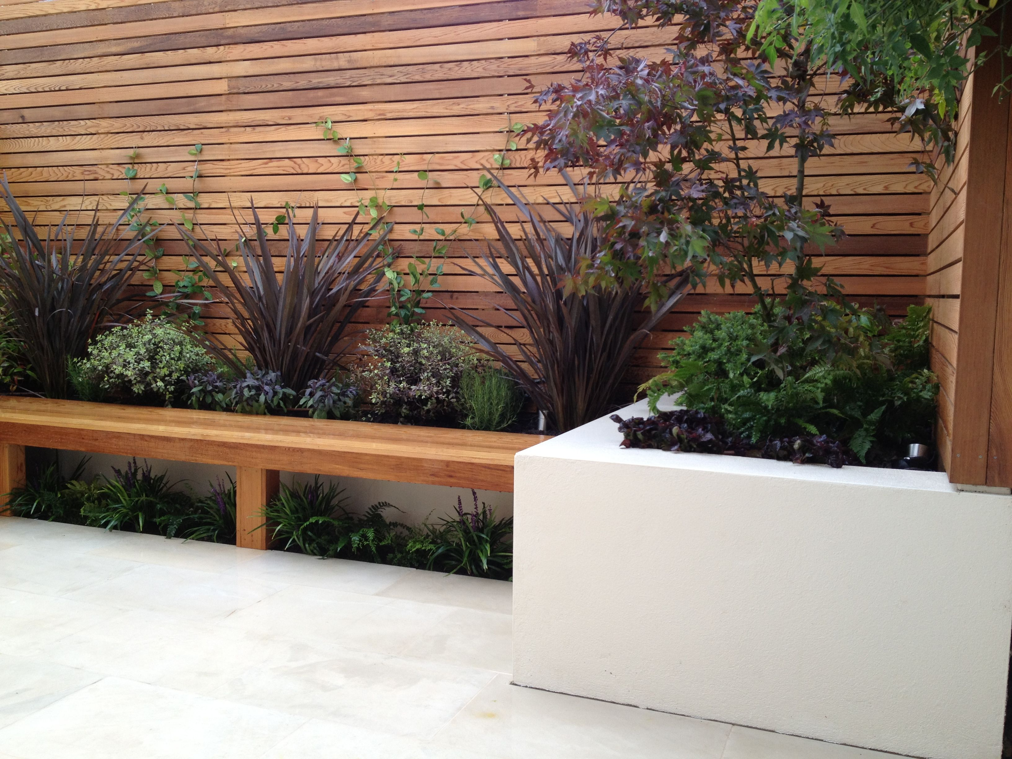 Integrating planter and bench seating garden design in london contemporary garden design london - Garden ideas london ...