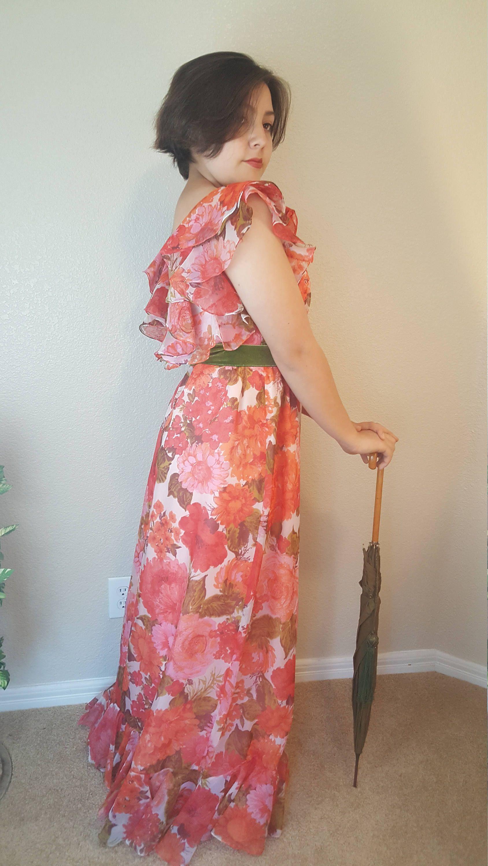 Sax Fifth Avenue/Vintage/Chiffon Dress/Prom dress/Bridesmaid dress ...