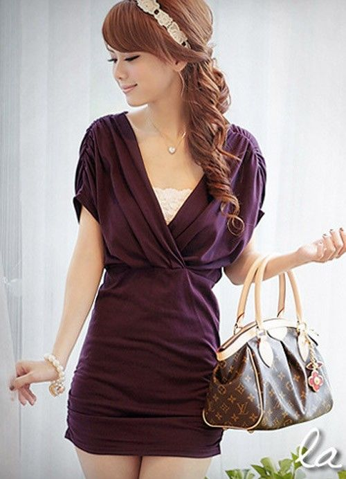 Pure Color V-neck Waisted Cotton Dress