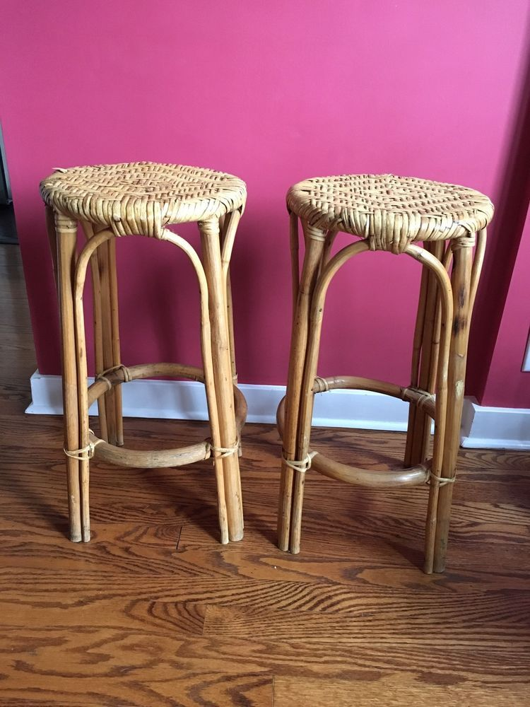 Details About Vintage Rattan Bar Stools Set Of 2 Bent Wood Not Bamboo