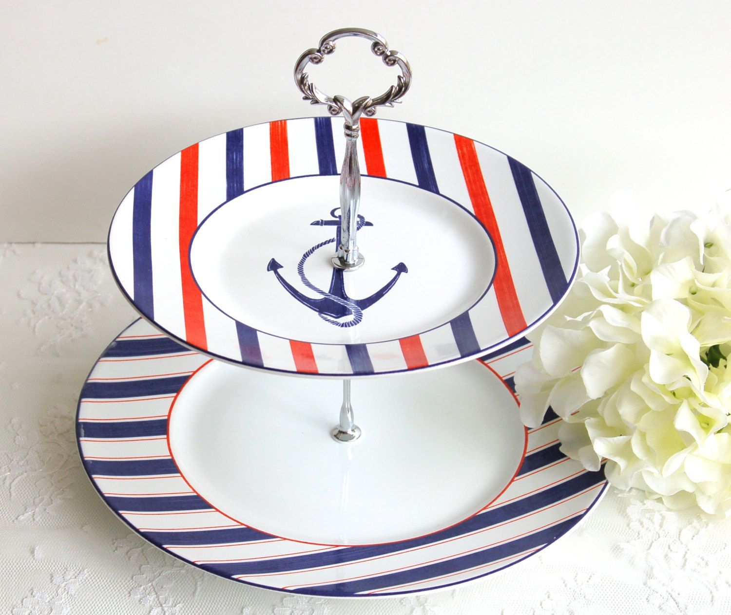 Nautical 2 Tier Cake/Cupcakes Stand.Red,White,Blue Tiered Stand ...