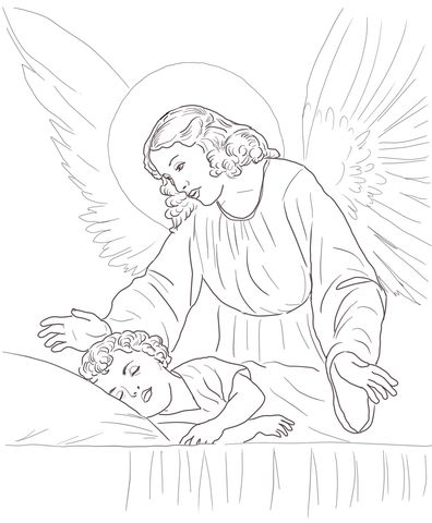 Guardian Angel Over Sleeping Child coloring page from