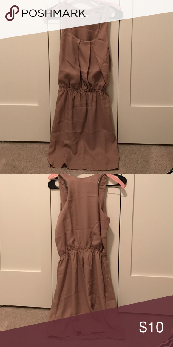 Light brown/tan dress Never been worn. I bought it for my sorority recruitment off of Asos and never ended up wearing it. Very light weight. Comes above my knee (I am 5'5).  Size 8 but I would say it's more like a small/medium. Dresses Midi