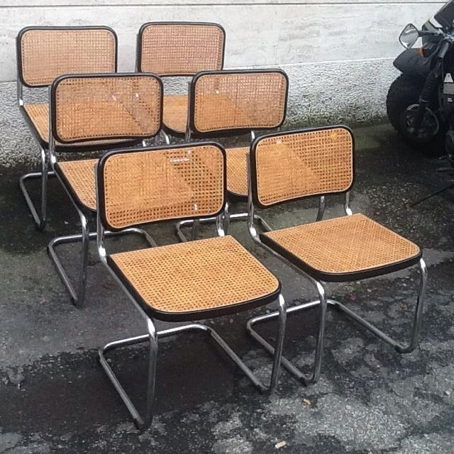 Sei sedie cesca design marcel breuer per gavina anni 60 for Sedie design 900