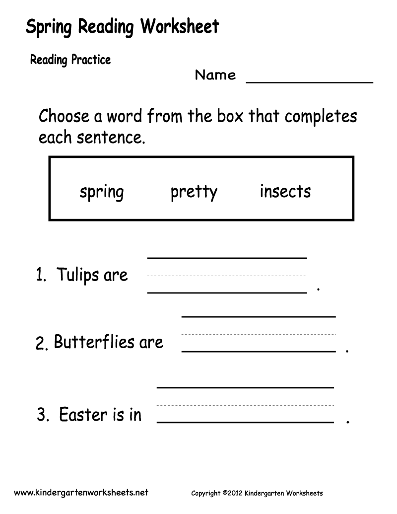 Worksheets Reading Worksheet spring reading worksheet free kindergarten holiday for kids