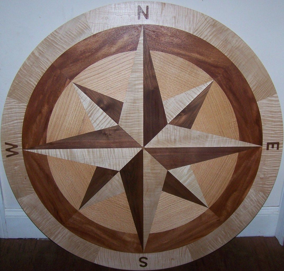 Hardwood floor medallion inlays and compass roses making for Wood floor medallion designs