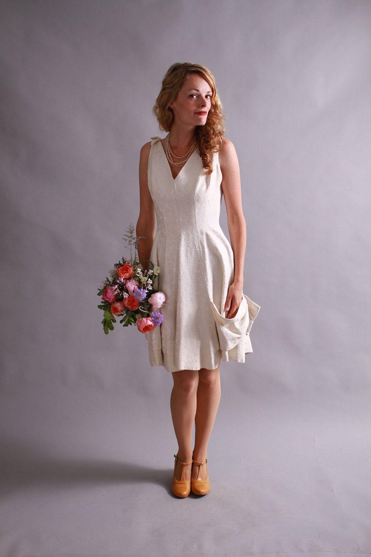 1950s WEDDING GOWN 1950s silk brocade mini wedding dress