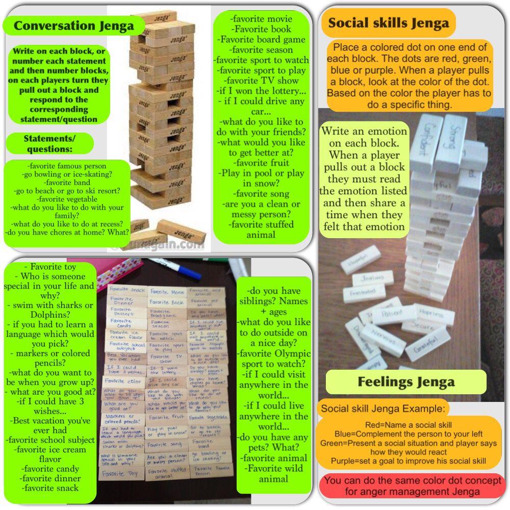 Jenga Ideas Social Skills Fun Conversations Anger Management Skills Emotions Fun Family Game Social Skills Social Skills Groups Social Skills Activities