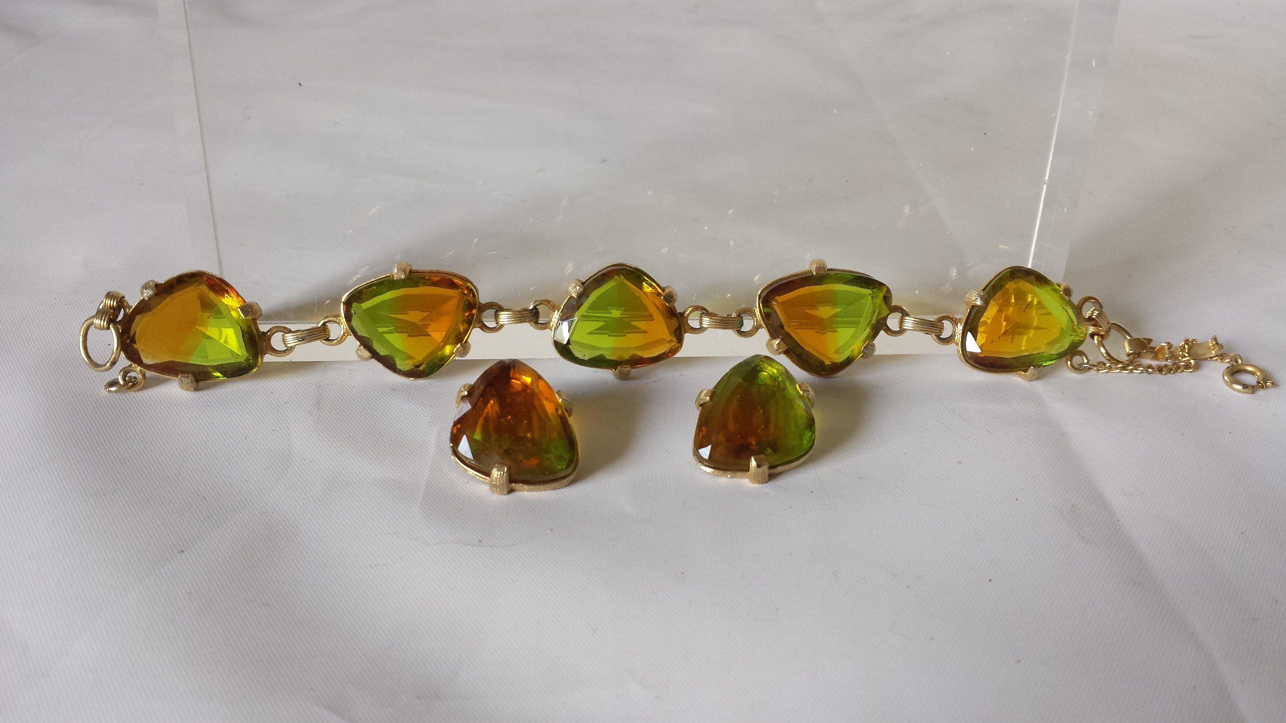 Vintage judy lee green amber gold tone bracelet earring set estate