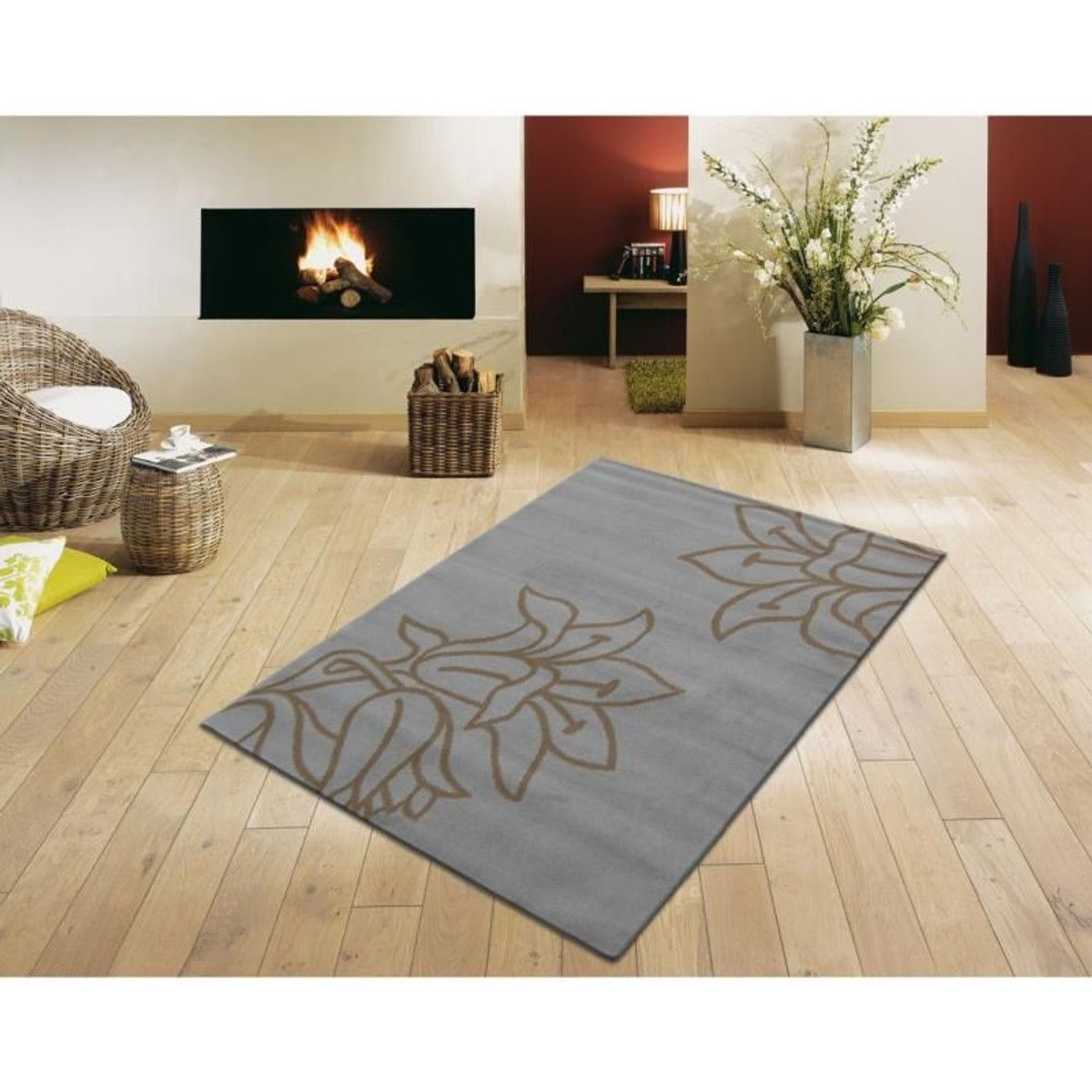 Tapis Moderne Paris Fleur Gris Taupe Taille 120x160 Cm 085x150 Cm 160x230 Cm Tapis Salon Decoration Maison Decoration Interieure