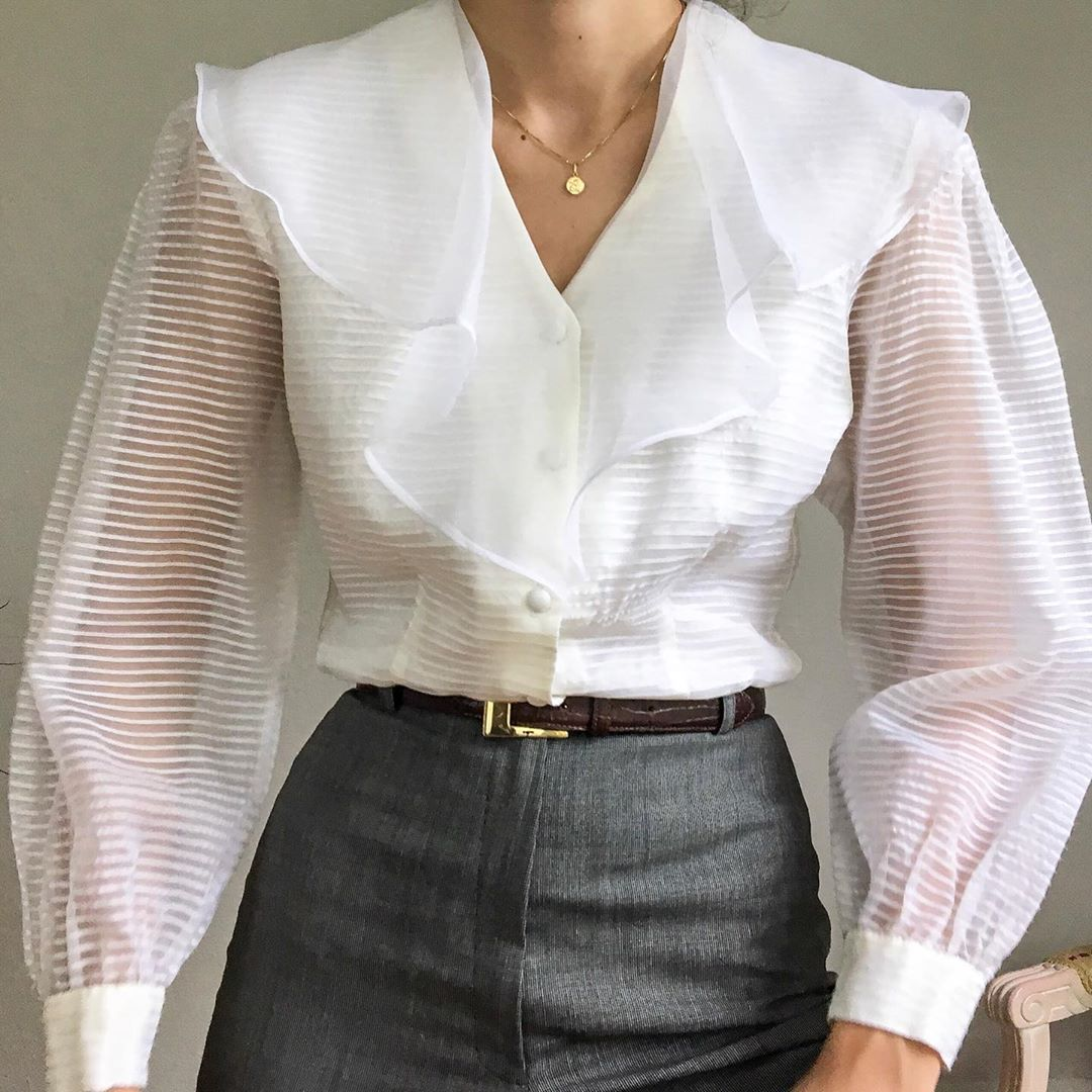 Peonias Vintage On Instagram The Most Stunning 70s Organza Ruffle Blouse With Sheer Puffy Sleeves Shop L Fashion Outfits Puffy Sleeves Blouse Ruffle Blouse