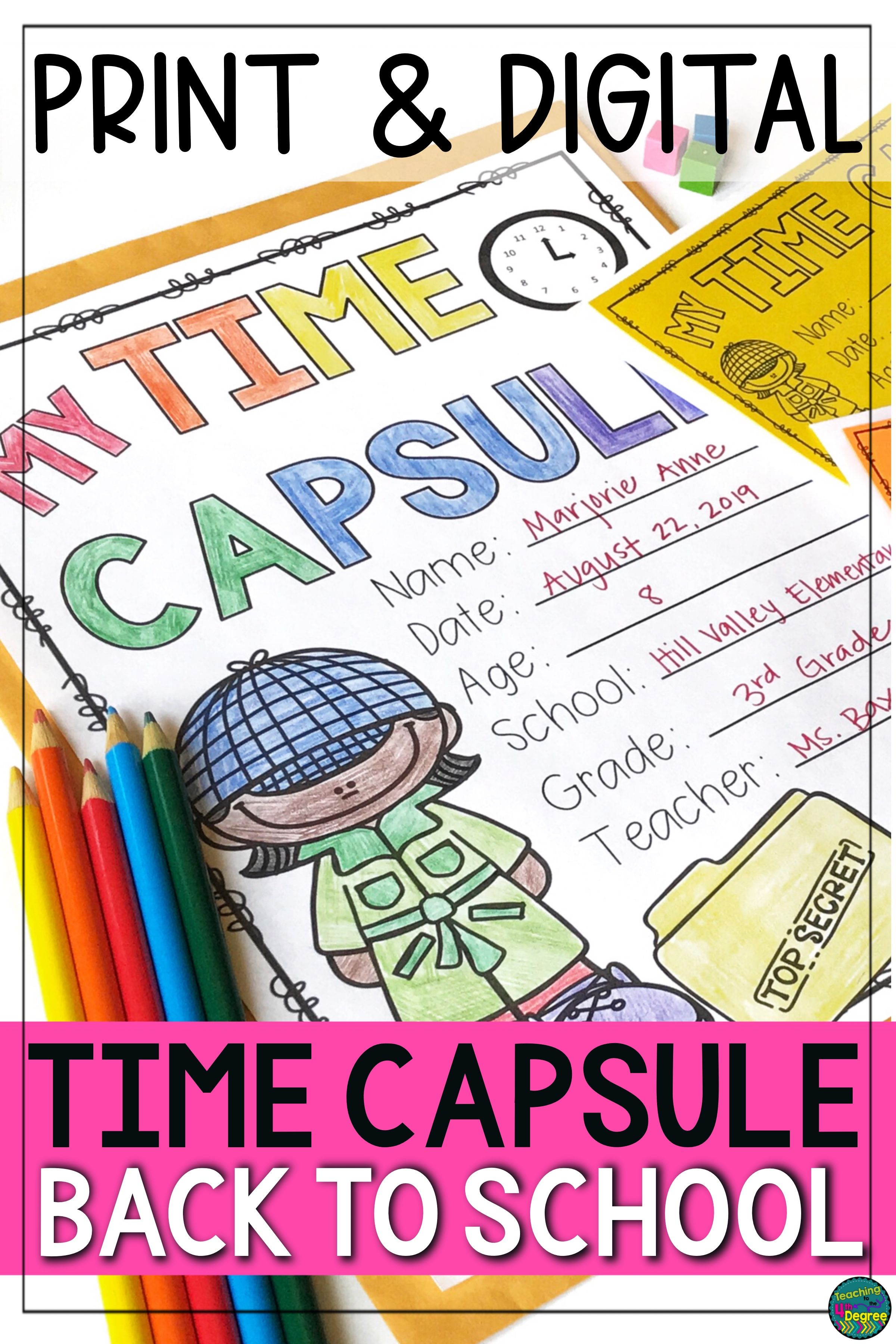 Time Capsule Beginning Of Year Activity Print By