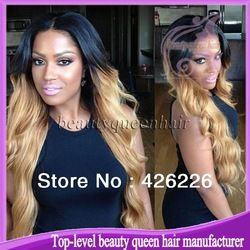 Online Shop Hot selling Middle part Glueless full lace wigs ombre  1  8 Two  tone Human hair Full lace wig virgin brazilian with baby hair 37d1544d2759