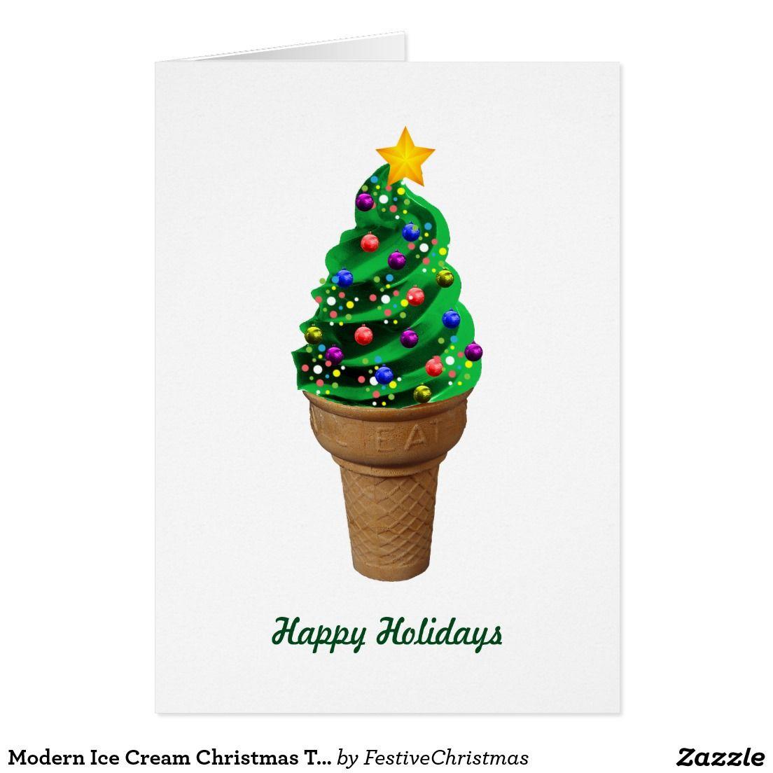 Modern Ice Cream Christmas Tree Greetings Card | Custom CHRISTMAS ...