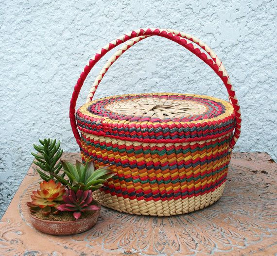 Colorful Woven Baskets Colorful Round Woven Wicker Basket With
