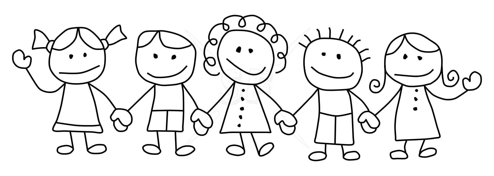Children Holding Hands Clip Art Black And White Kind Of Letters Download Free Best Quality On Clipart Email Clip Art Stick Figures Children Holding Hands