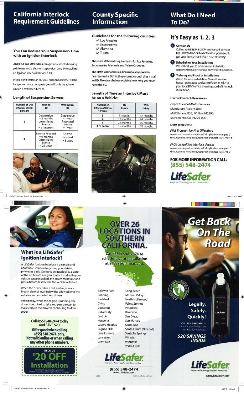 The IID, ignition interlock device installation on your car after DUI offense is a new law will be enforced in 2019. This company's brochure is a simple introduction of the device.