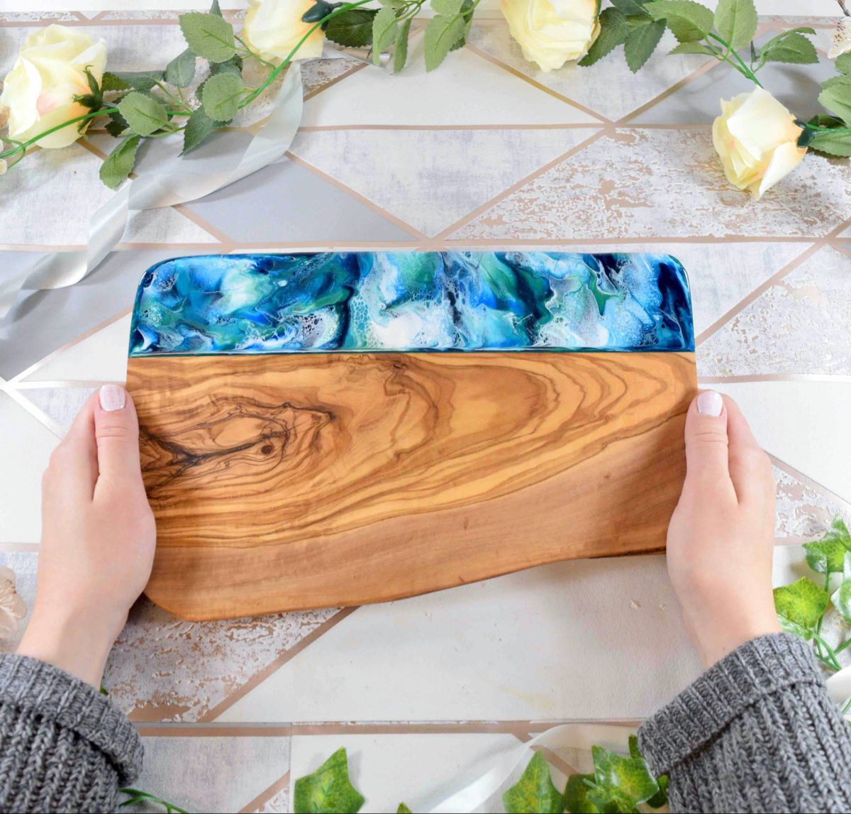 Olive Wood Cheese Board with Blue Green Resin Art