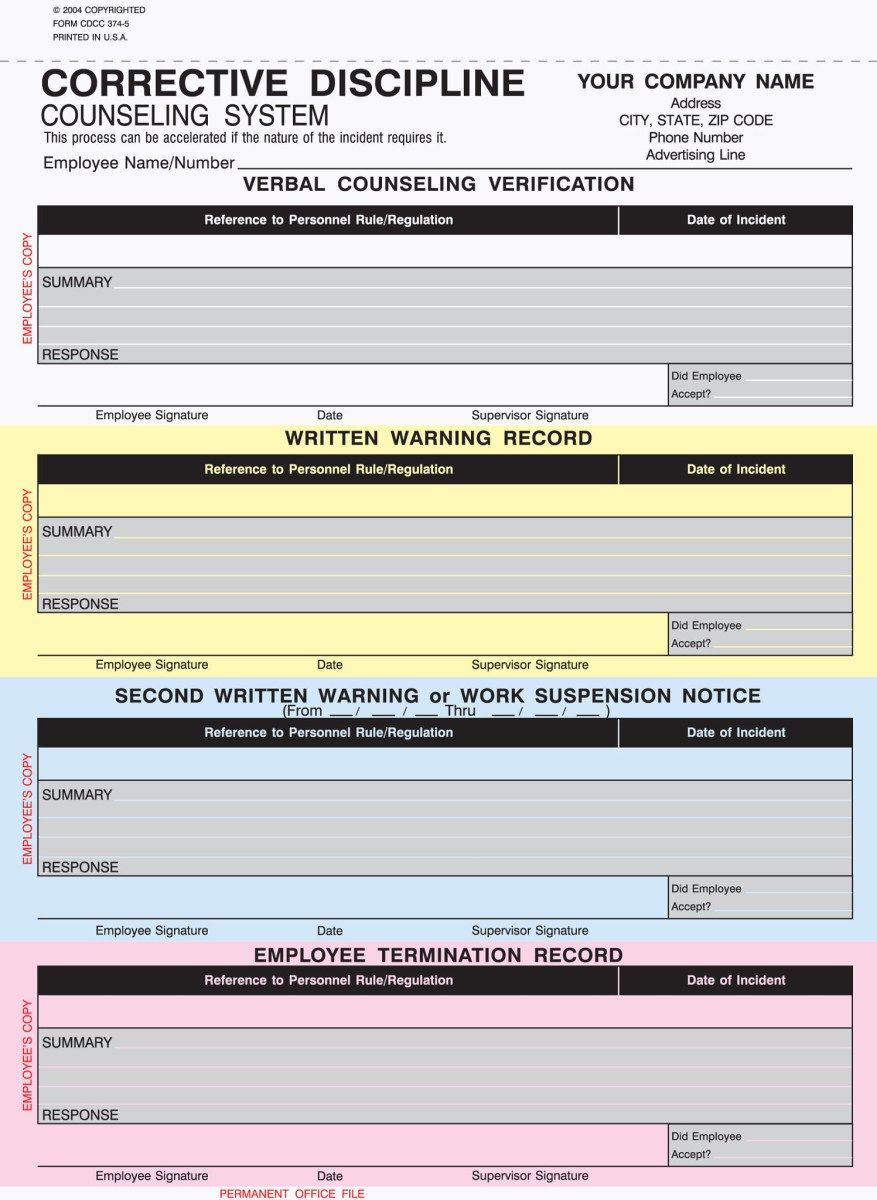5 Part Corrective Discipline Counseling Forms Counseling Forms Counseling Correction