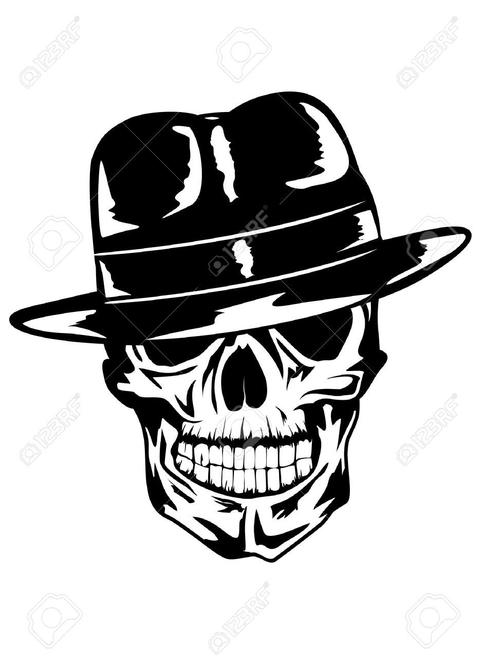Black Gangster Skull Tattoo Stencil Jpg 942 1300 Simple Skull Skull Stencil Skull Decal