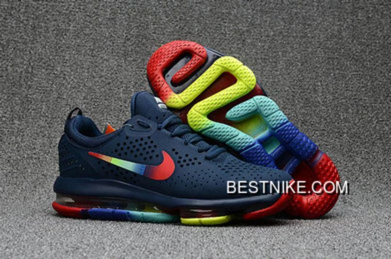 Nike Air Max 2018 Dlx Blue Rainbow Red Yellow Shoes Copuon  runningshoes 9754f66a6