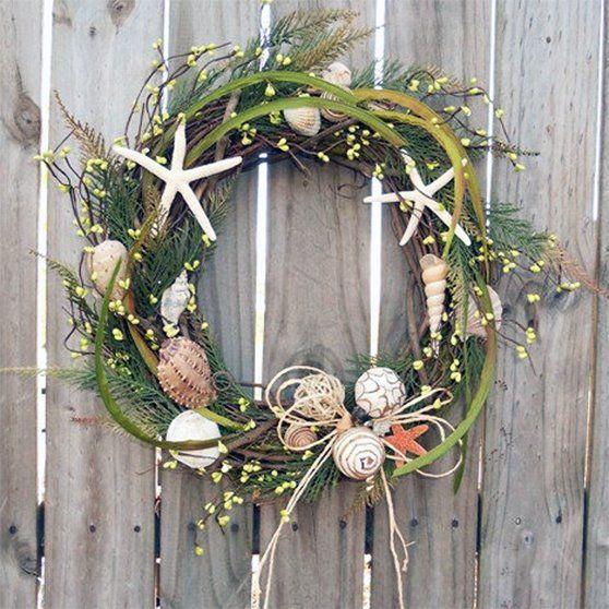 christmas wreath beach house door wreath summer