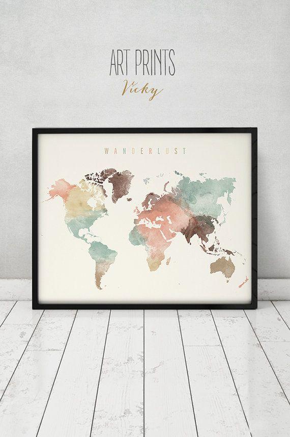 World Map World Map Poster Wanderlust World Map Wall Art World