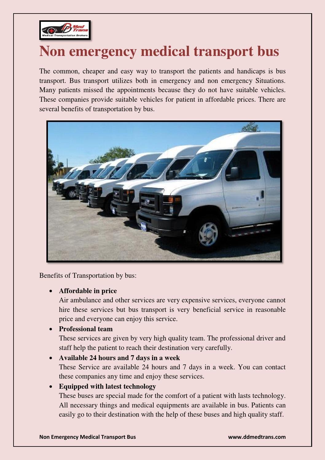 Non emergency medical transport bus Non emergency
