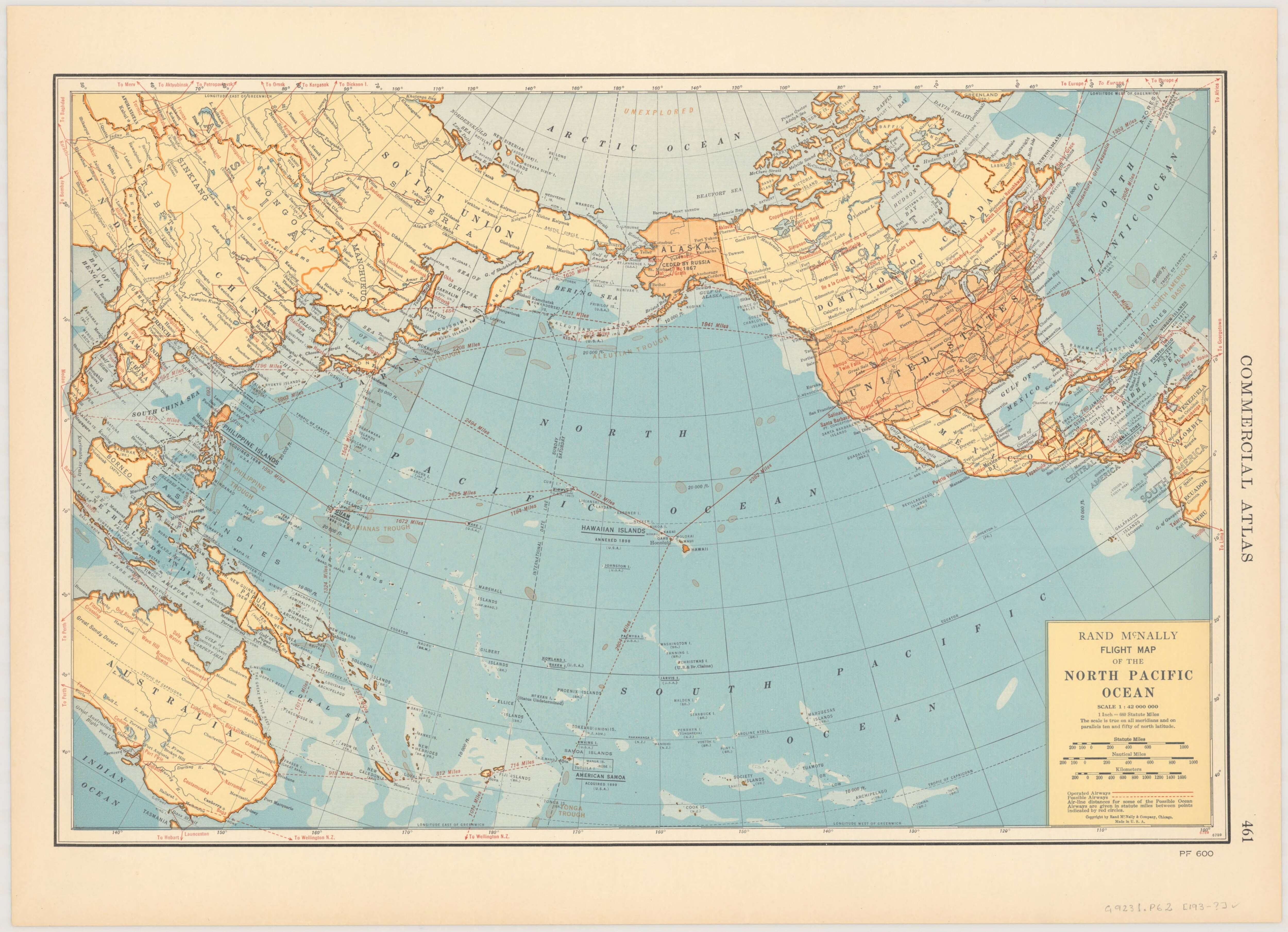 1930s Rand McNally Flight Map of the North Pacific Ocean