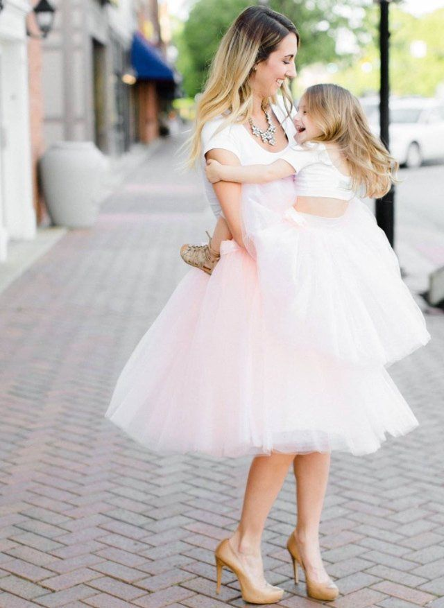 mommy and me matching tutus | tulle skirts, pale pink and layering
