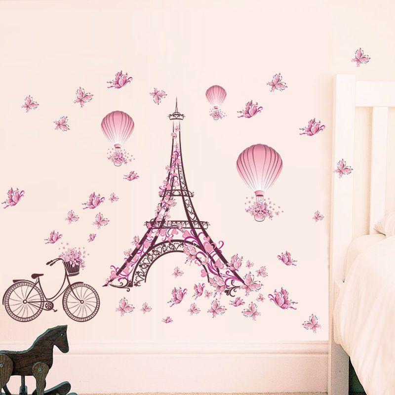 Wandtatoo Wandsticker Wandaufkleber Eiffelturm Heissluftballon Schmetterling Diy Eiffelturm Kunst Kinderzimmer Dekor Madchenzimmer Dekoration
