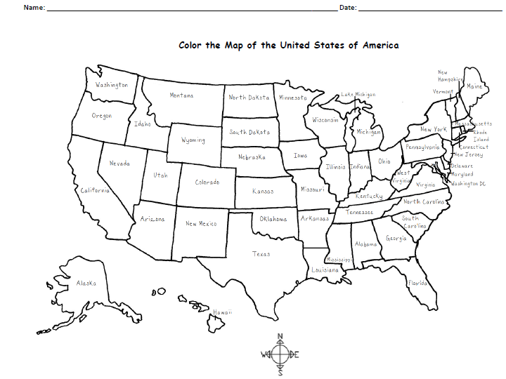 A free printable map of the United States to color and learn ... Images Of America Map No States on usa map no states, south america no states, map of america cities,