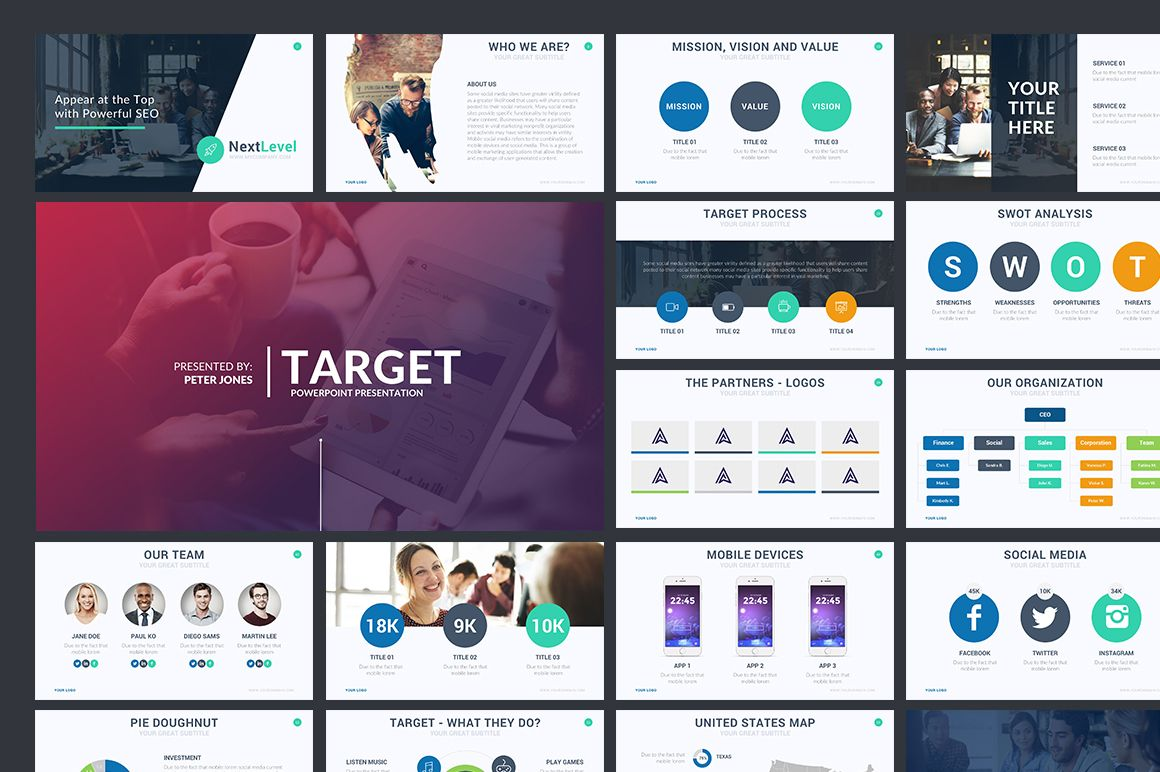 Target Powerpoint Template by Rocketo Graphics on @creativemarket ...
