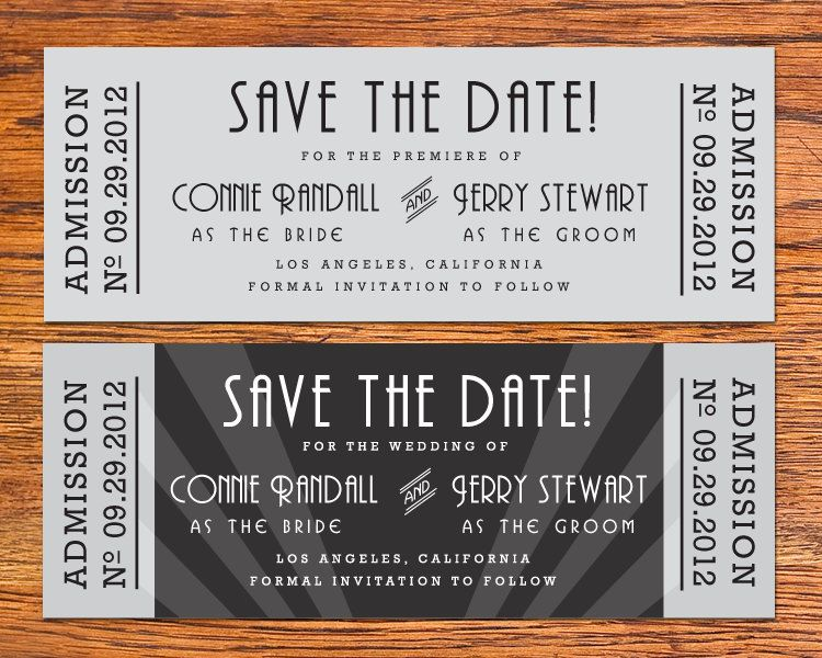 DIY Old Hollywood Movie Ticket Save the Date Card Movie tickets - movie ticket template for word