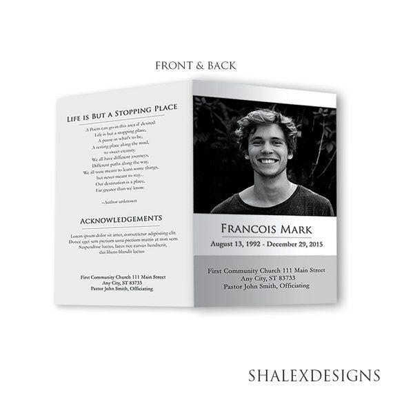 Funeral Program Template  Photoshop Psd Instant Download