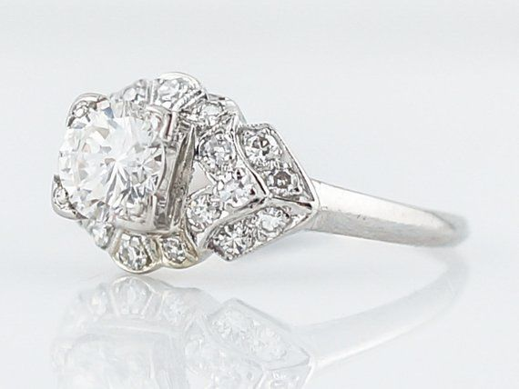 930359b25 Antique Engagement Ring Art Deco .78 Round Brilliant Cut Diamond in Platinum