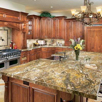 Golden ray granite from arizonatile.com is perfect in this ...