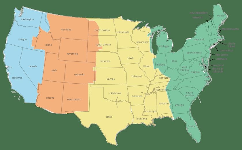 time zone map illinois United States Time Zone Map Current Dates And Times In Us States