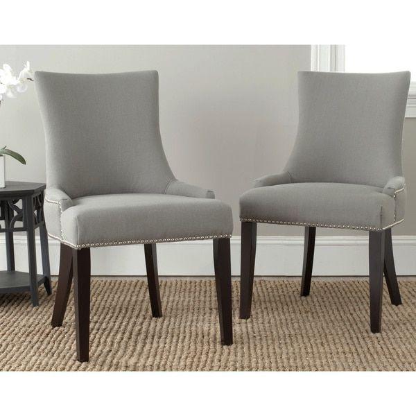 safavieh en vogue dining lester granite nailhead side chairs (set