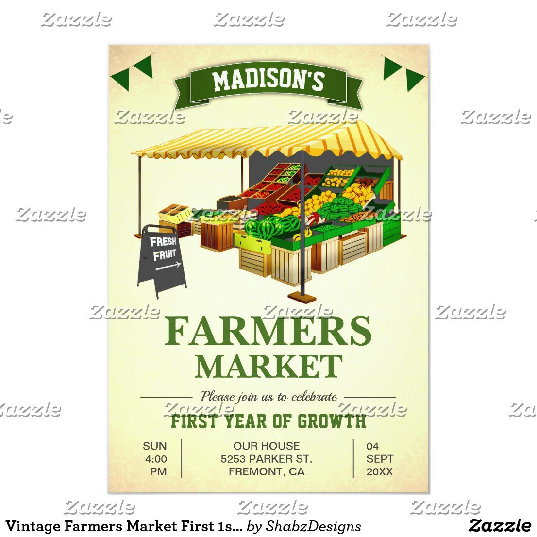 Vintage Farmers Market First 1st Birthday Party Invitation