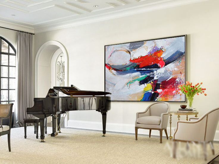 Original Horizontal Wall Art Abstract Art Canvas Painting Blue