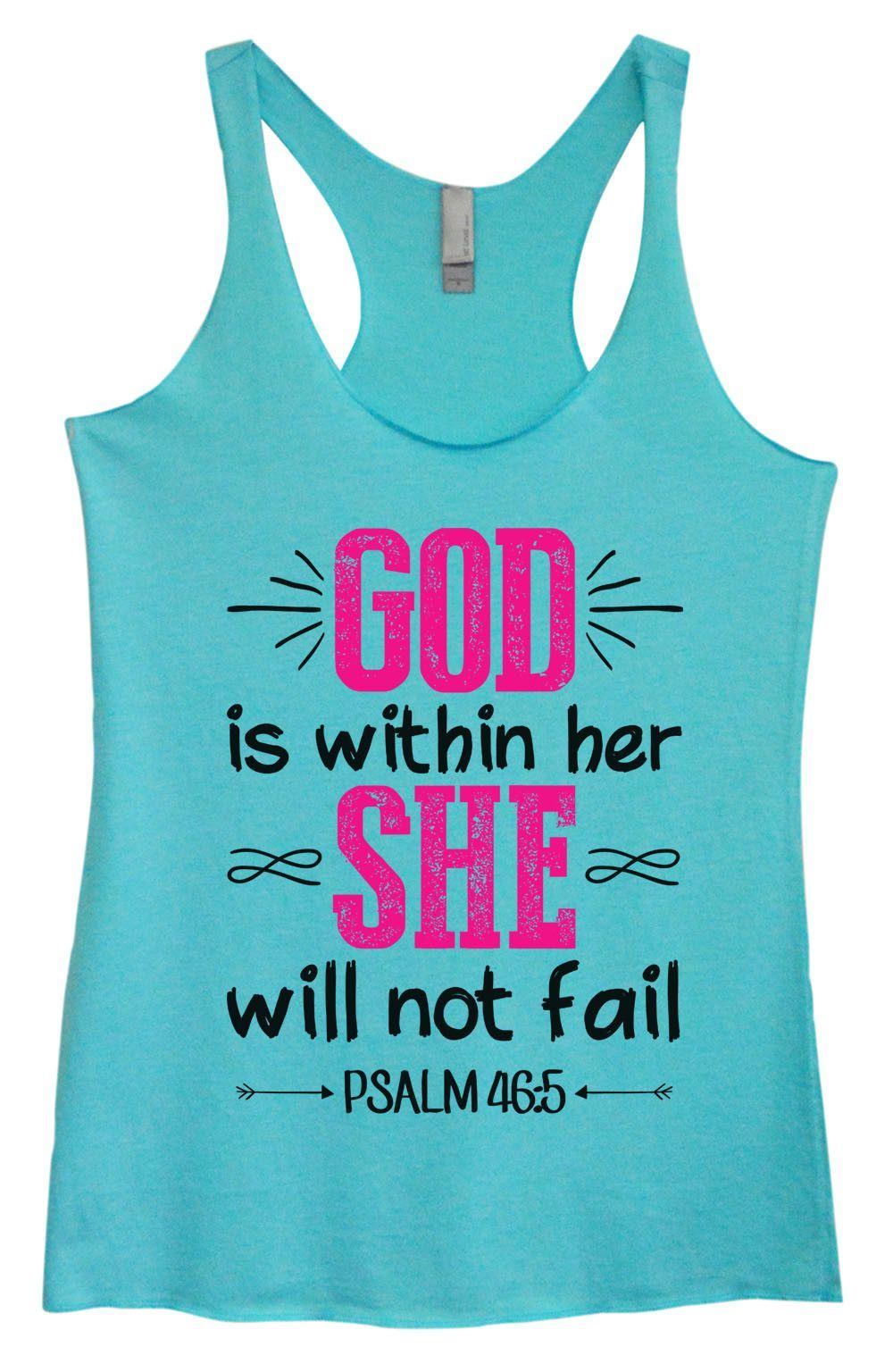 Womens Tri-Blend Tank Top - God Is Within Her She Will Not Fail Psalm 46:5