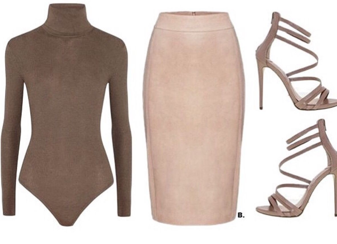 Body suit and suede skirt