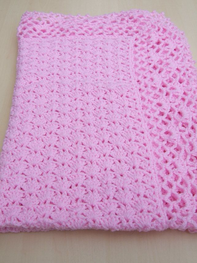 Hand crochet baby blanket or afghan in iced pink | Crochet Blankets ...