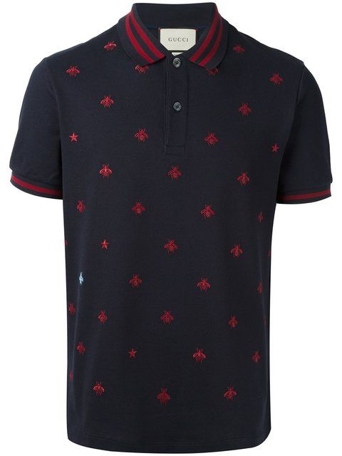 2b2f8b98e476 GUCCI bee and star polo shirt. #gucci #cloth #shirt | Gucci Men in ...
