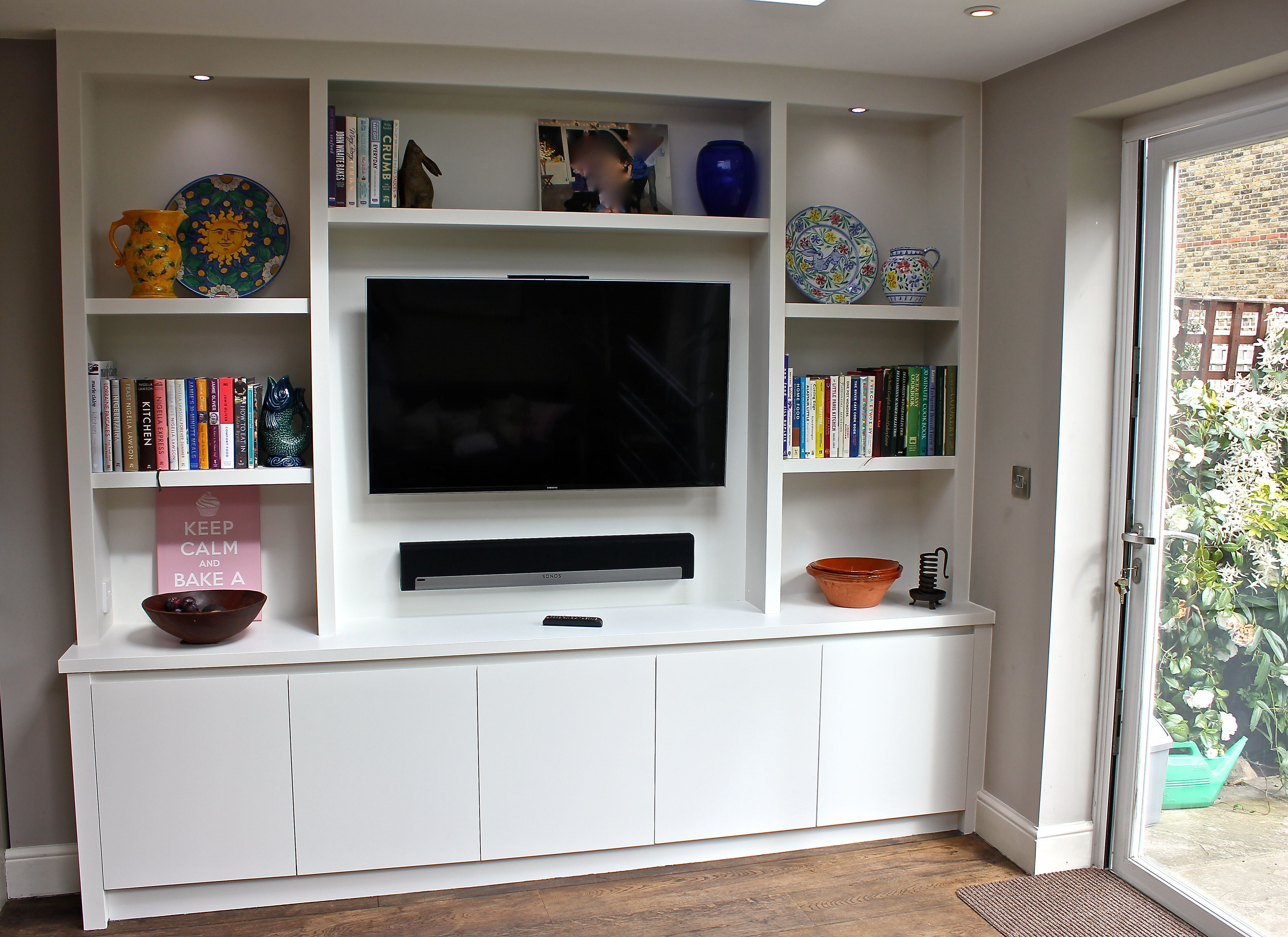 A Contemporary Bespoke Bookcase Display Unit Ideal Storage For Plasma Screen With Sky Box
